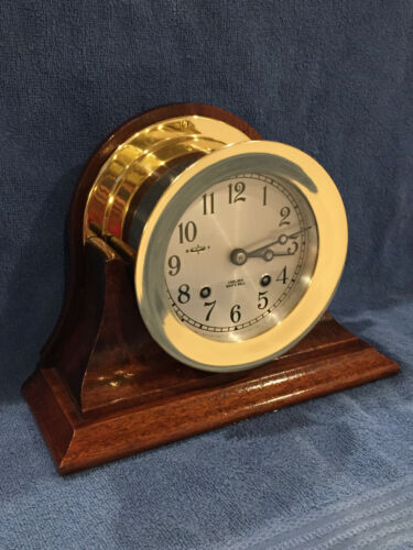 "**FULLY RESTORED** 1974 Chelsea Ships Bell Clock 4 1/2"" Dial Serial #777176"