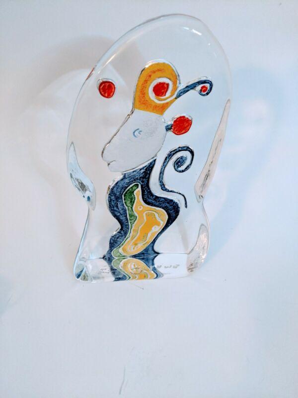 """MATT LAMB """"SPIRIT OF THE SEA"""" Heavy Glass Sculpture Artwork Glass Art Signed"""