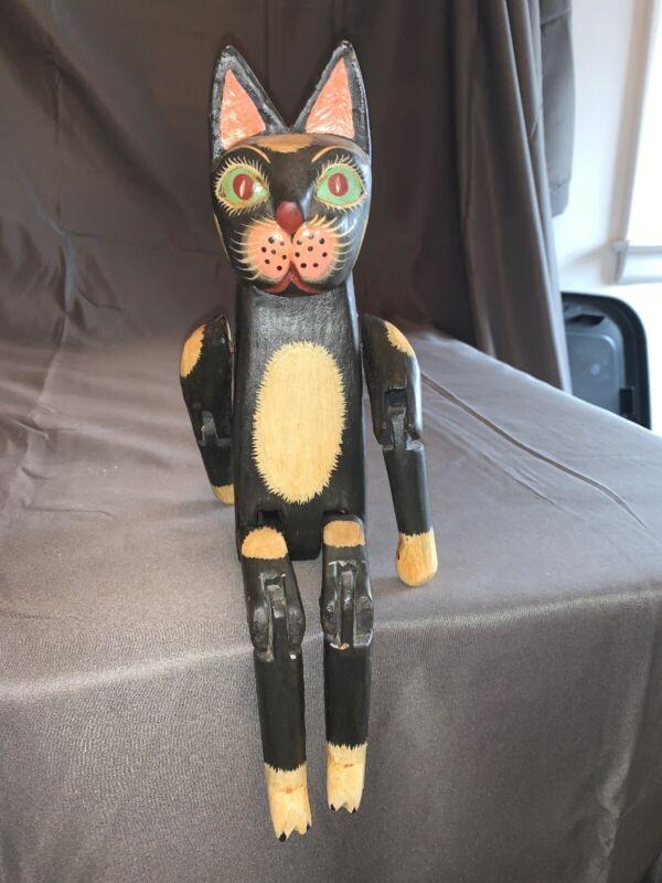 Vintage Folk Art Cat Sculpture Carved Wood w/ articulated joints shelf sitter