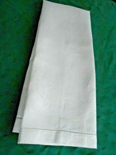 LARGE WHITE DAMASK TOWEL WITH OPEN HEM WORK, CIRCA 1920
