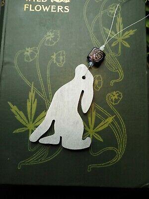 Moon Gazing Silver Hare Yule Ornament - Pagan, Christmas Tree Decoration ()