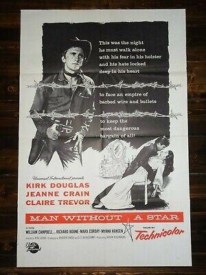 Man Without A Star 1955 Western Kirk Douglas Vintage Original Film Movie Poster