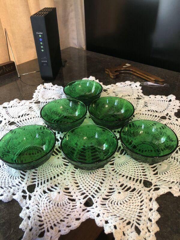 Anchor Hocking Sandwich Glass Berry Bowls Forest Green--4 1/4