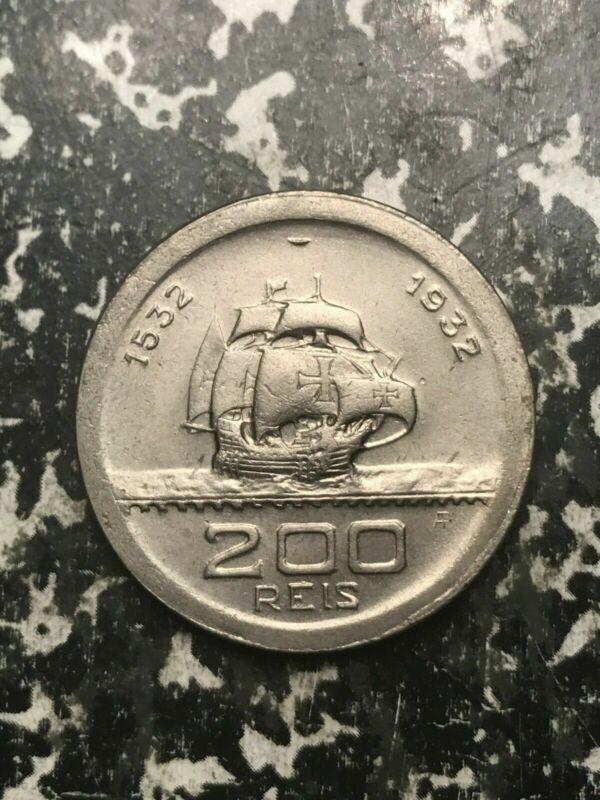 1932 Brazil 200 Reis Lot#L5091 High Grade! Beautiful!