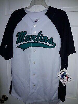 Florida Marlins shirt MLB Majestic athletic Miami  baseball uniform Jersey NEW L Athletic Baseball Uniform