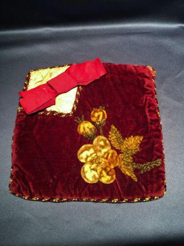 Victorian Burgundy Silk Velvet Embroidered Appliqued Pocket Sewing Handkerchiefs