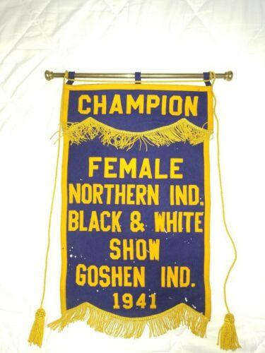 Vintage 1941 Holstein Cow BLACK & WHITE SHOW award banner Goshen IND.