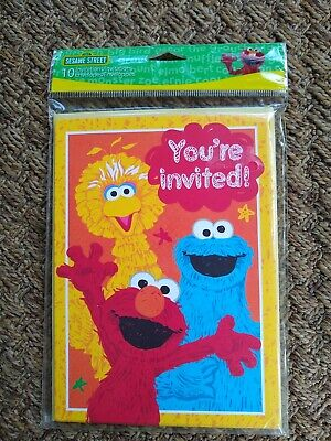 Sesame Street Invitations (Sesame Street Big Bird Elmo Cookie Monster Party Invitations 10 Full Size)