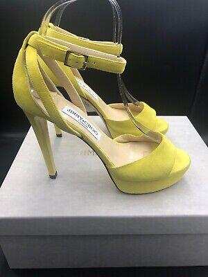 Jimmy Choo 'Kayden' Yellow Suede Platform Stiletto Sandals Heels Eu 37 Uk 4