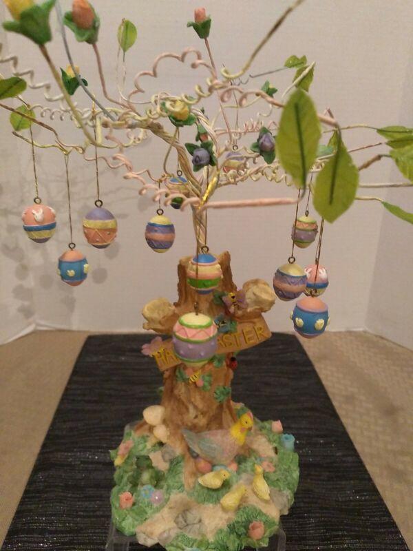 "Vintage DanDee Easter Egg Tree Decor ""Happy Easter"" Spring Chicks Resin Ornament"