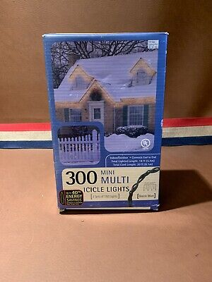 20 ft Mini Icicle Lights Multi - 300 count Christmas Outdoor Indoor Green Cord