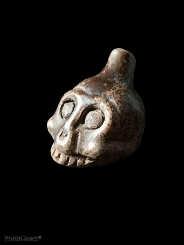 Death Whistle, Loud, Bone, Half Skull, Real, Aztec, Original, Hand Crafted.