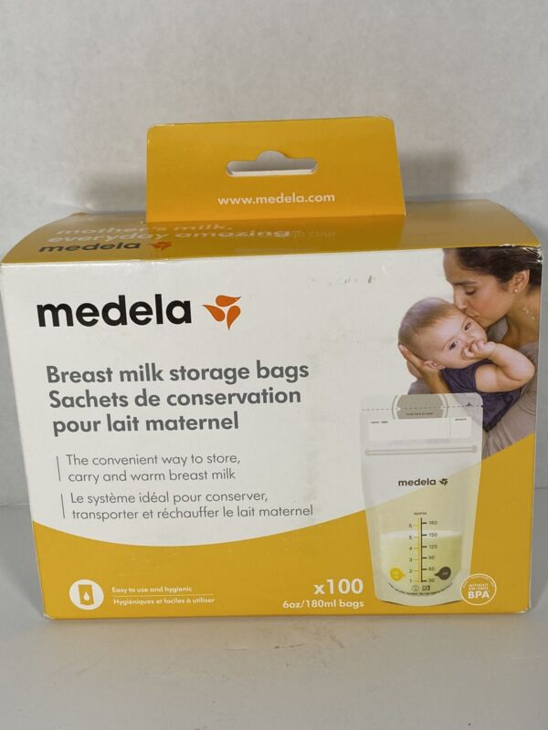 Medela 100 Count 6 Oz Breast Milk Storage Bags Double Zip FAST SHIPPING NEW