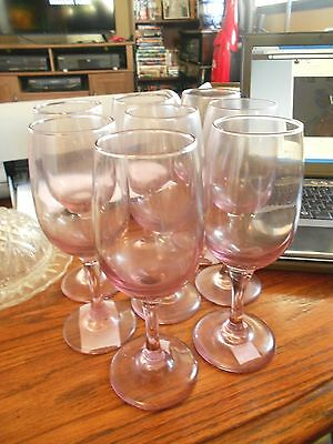 "Set of 4 Red Pink 7"" Wine Glasses Goblets Nice!"