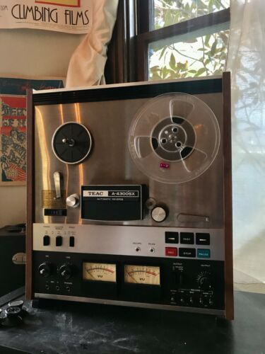 "TEAC A-4300SX Reel To Reel 7"" Tape Deck Works + 45 Tapes -- WATCH VIDEO"