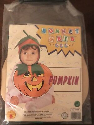 NWT Infant Baby Boy Girl Pumpkin Jack o'Lantern Bonnet and Bib Halloween Cute