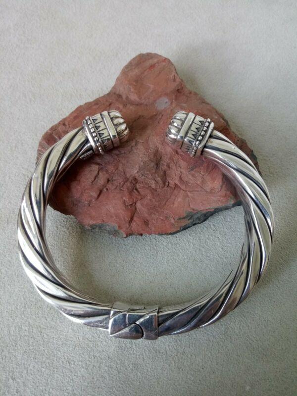 "JRI .925 Sterling Silver Modernist Mexico Clamper 6.5"" Bangle Cuff Bracelet 34g"