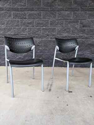 2 Modern Keilhauer Also Black Silver Finish Ergonomic Stackable Chairs