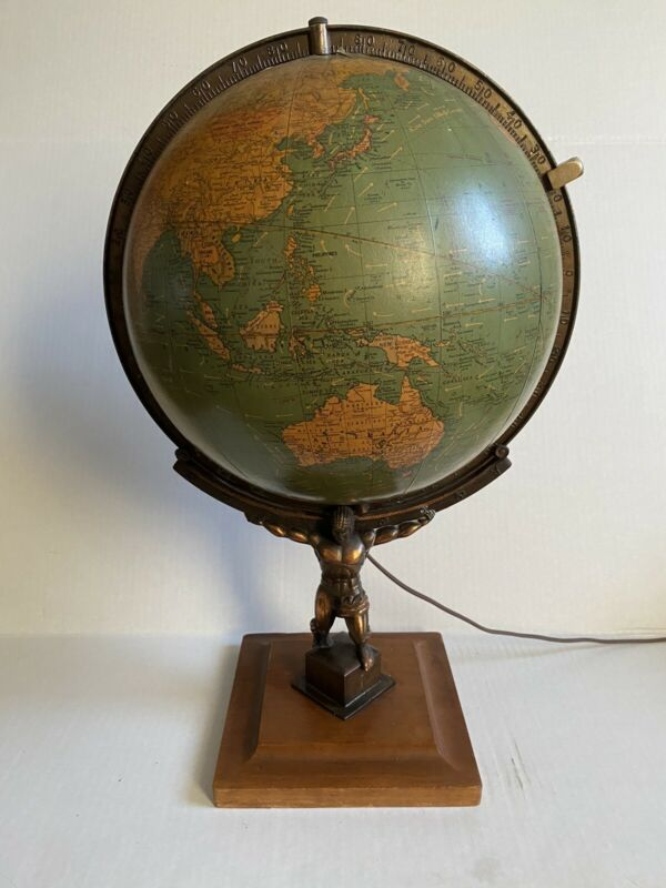 Vintage Unrivaled Georges F Cram World Terrestrial Atlas Globe Illuminated Rare