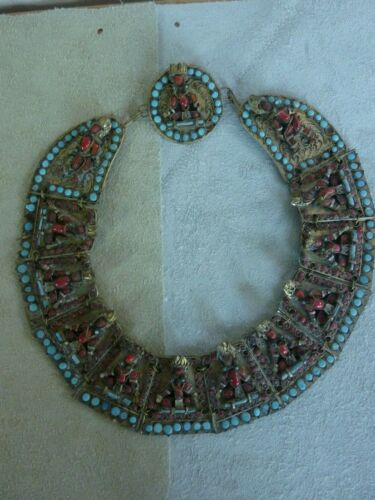 Vintage Nagaland Figural Brass,Coral & Turquoise Necklace         Fabulous!!