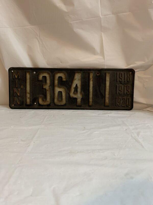 Vintage 1918 1919 1920 Minnesota License Plate 136411