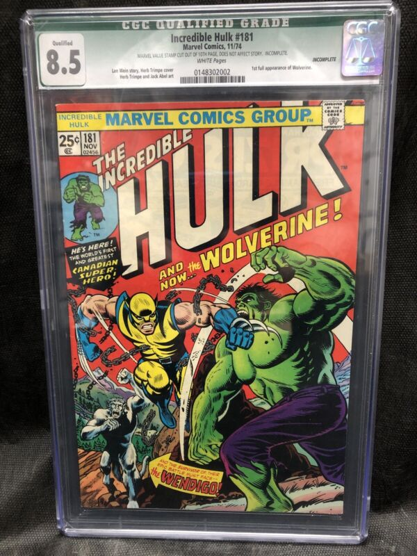 The Incredible Hulk #181 Gorgeous cover! Hot Book Alert!  8.5 CGC Qualified