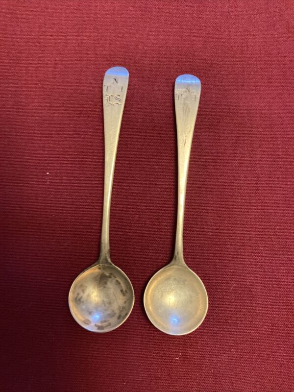 Pair of Coin Silver Mustard Spoons, Maker Unknown