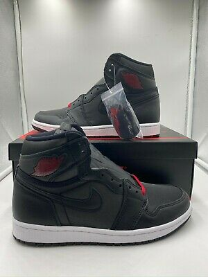 "Nike Air Jordan 1 Retro High OG ""Black Satin"" Red Shoes 555088-060 Mens Bred NEW"