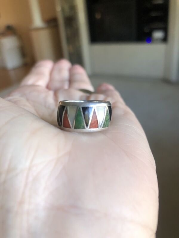 Vintage Ring Band Turquoise & Coral Onyx MOP Inlay Sterling Inlaid Multi Stone
