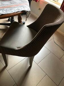 Set of 6 Arm chair dining table chair beige burgundy wood grey