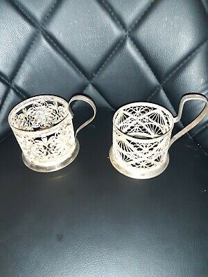 2 x Antique Russian Tea Glass Holders - Silver Plated