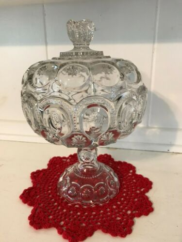 """Vintage LE SMITH Moon And Stars Clear Glass Compote Candy Dish with Lid 12"""""""