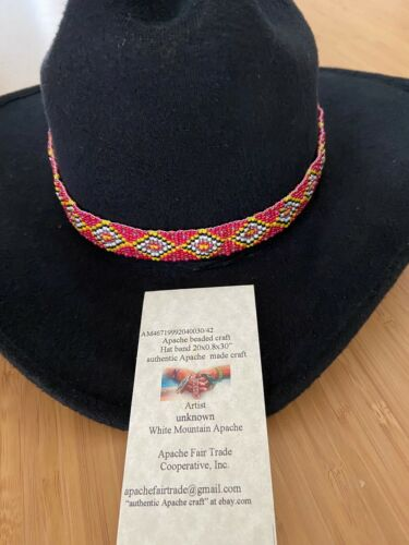 """authentic Apache made craft loom beaded hat band 21.5x3/4x34"""" 029/41"""