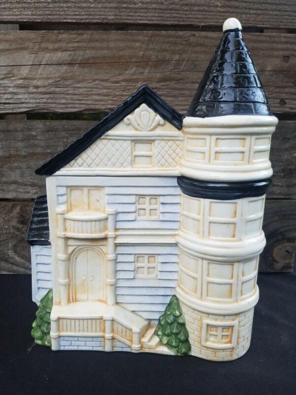 """Vintage Cookie Jar Victorian House Otagiri 1980 Large 11x8x6"""" Biscuit Box Japan"""