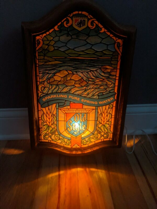 Vintage Old Style Beer Lighted River Water  Waterfall Bar Advertisement