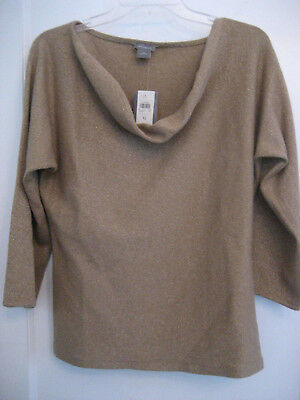 NEW Tags Ann Taylor CASHMERE 3/4 Sleeve TOP Sweater Womens M Metallic CAMEL Gold