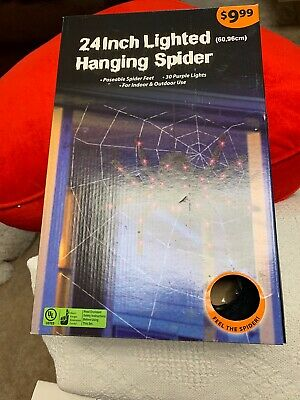 24 INCH FURRY LIGHTED HANGING SPIDER POSEABLE SPIDER FEET 30 PURPLE LIGHTS NIB