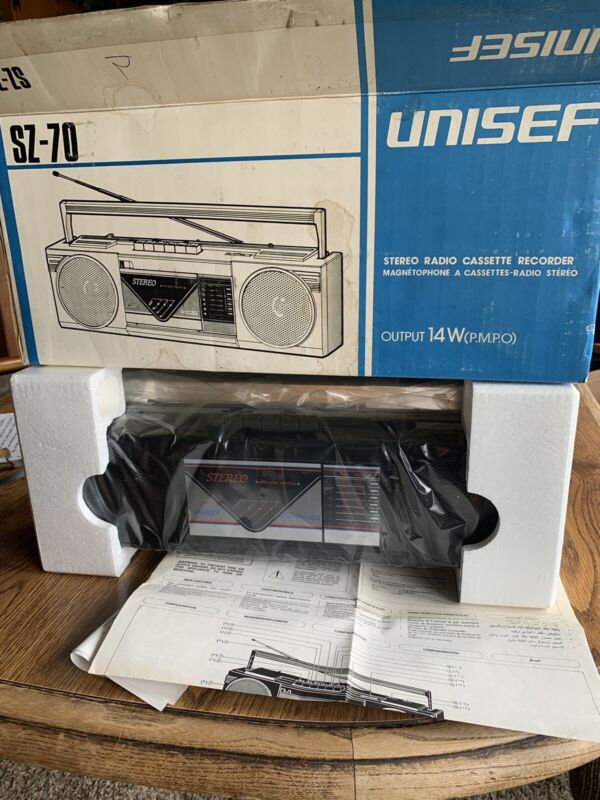 Vintage Unisef Stereo Radio Cassette Player Model SZ-70 NOS New Box Boombox