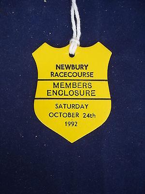 1 - Horse racing - Card Badge - Newbury - Members - 24th October 1992