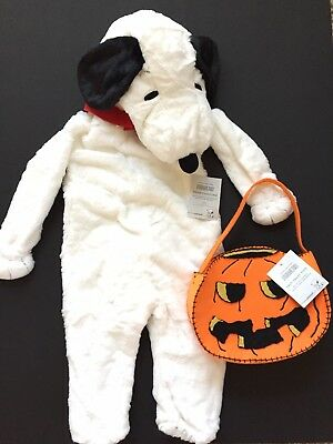 POTTERY BARN KIDS SNOOPY HALLOWEEN COSTUME SIZE 3T + TREAT BAG NEW DOG PEANUTS 3 (Snoopy Halloween Costume Kids)