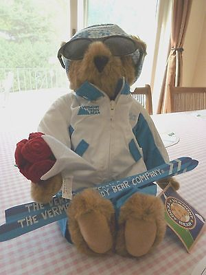 """Vermont 17"""" Brown Teddy Bear Dressed for Skiing with Skis & Sunglasses"""