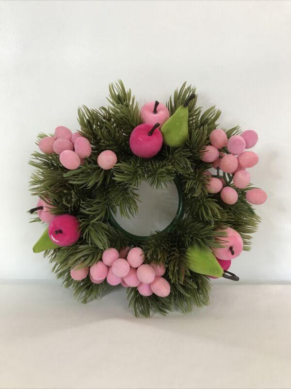 Vintage Plastic Wreath Centerpiece Candle Holder Evergreen Pink Fruit Berries