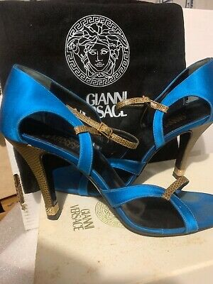 Versace Black Dust Bag Blue Satin Rhinestone Heels Pump Sandal,Box 38