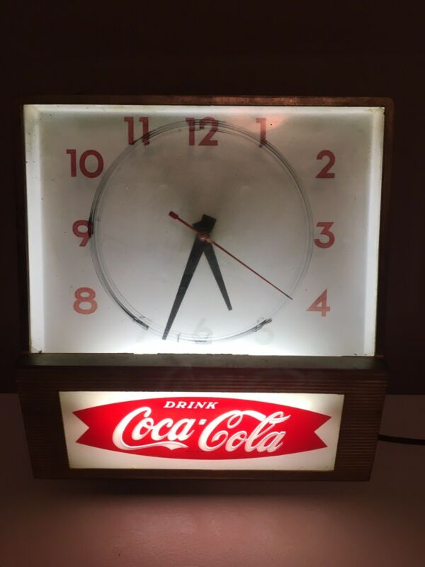 Vintage Coca Cola Wall Clock Works Great New Starter And Lightbulb