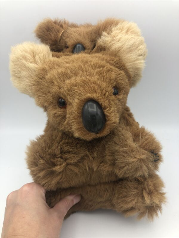 Vintage Antique Stuffed Koala Bear With Baby- nose and claws