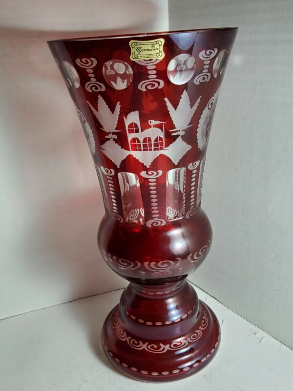 """Ruby Red Egermann Czech Republic Glass Etched Clear To Cut Vase 12"""" Tall Vintage"""