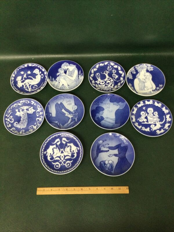 Royal Copenhagen Mother's Day plates ~  lot of 10 Great Designs 1970