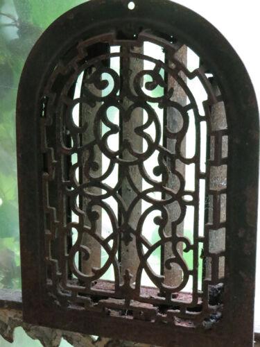 Antique Ornate Cast Iron Arched Top Register Vent Grate Cover Filigree Detail