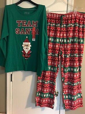 Jammies For Your Family Women Sz 2X Team Santa Knit Pajamas Cotton & Fleece NWT