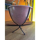 Mid Century modern bullet planter Metal stand Plastic Pink 50's Retro Vintage